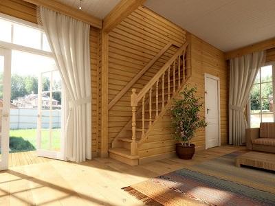 Прямая деревянная лестница в интерьере